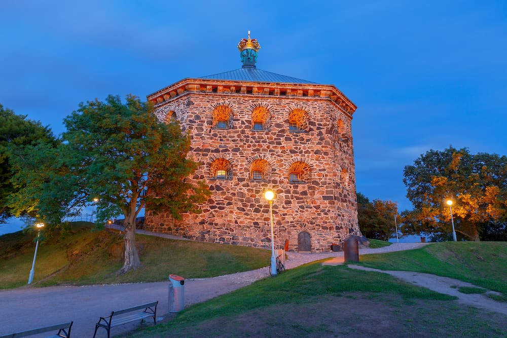 Old stone tower Skansen Kronan at sunset. Gothenburg. Sweden.