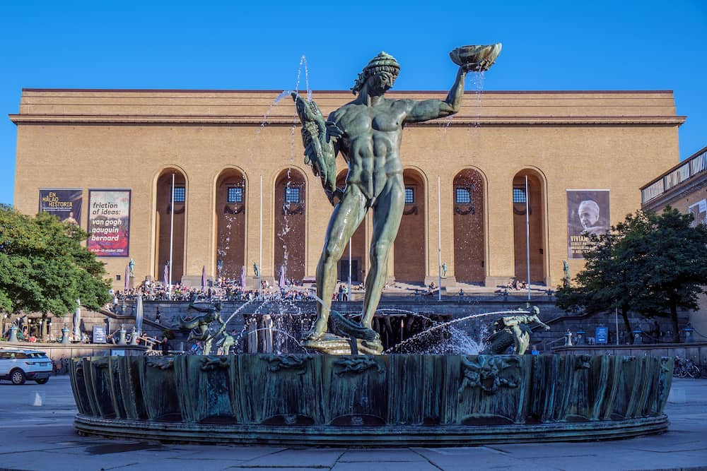 GOTHENBURG, SWEDEN The iconic statue Poseidon by Carl Milles on September 4, 2014 in Gothenburg. Gothenburg is the second largest city in Sweden and an important harbor.