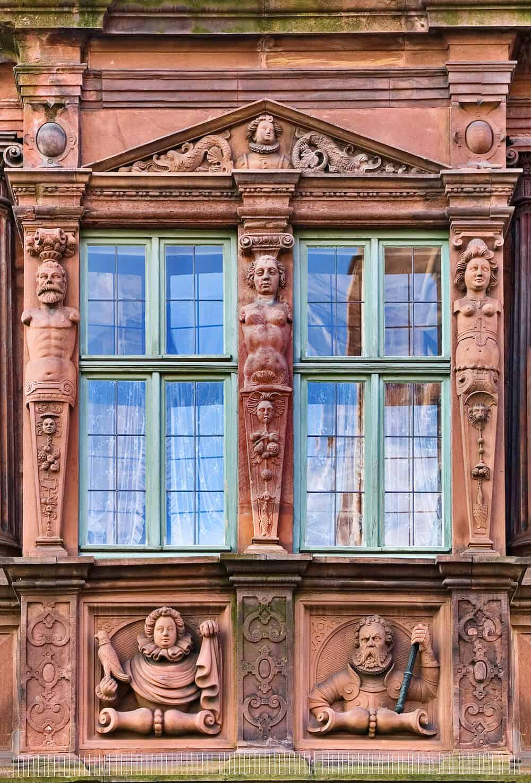 German Mannerist style window of Hause zum Ritter in Heidelberg
