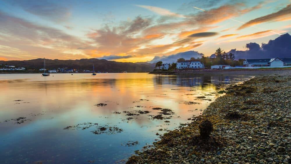 Beautiful Scottish sunset at Kyleakin village - Isle of Skye, Scotland, UK