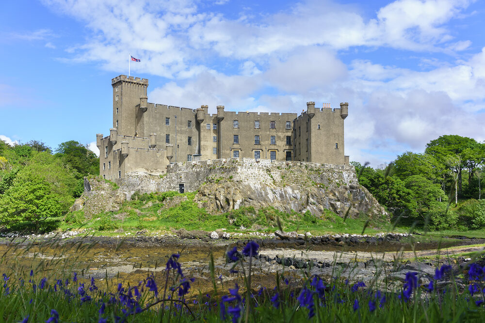 Dunvegan castle & Gardens sits on the shores of the large Loch Dunvegan , Isle of Skye, Scotland