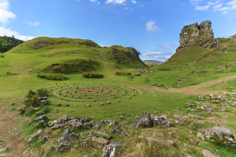 The Fairy Glen and Castle Ewen , The stone circle and landscape of grassy, cone-shaped hills in summer , Uig , Scotland