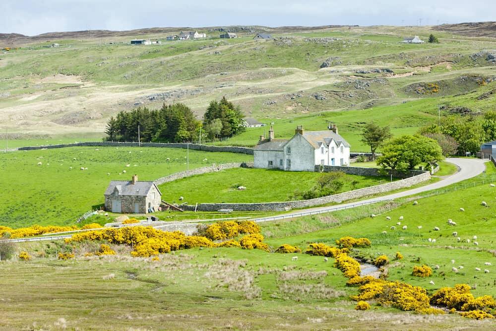 landscape at Armadale Bay in Highlands in Scotland UK