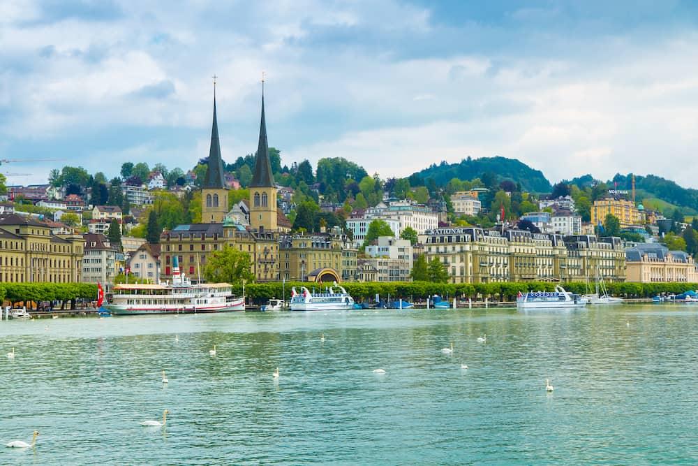 Lucerne, Switzerland - Cityscape of Lucerne along Lake Lucerne and the Reuss river. Lucerne is a city in central Switzerland, the capital of the canton of Lucerne.
