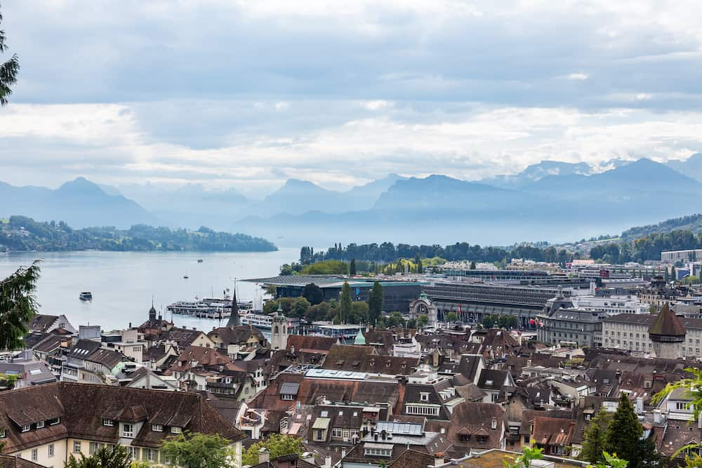 View from the mountain on Lucerne and Lake Lucerne, Switzerland