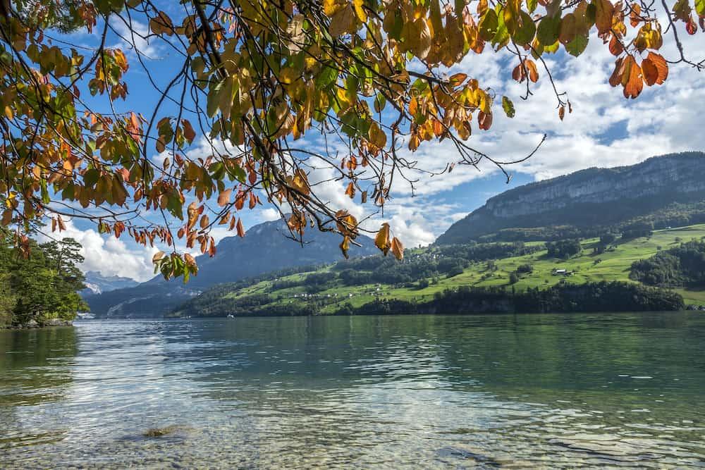 the Lucerne lake view neer Gersau in Autumn, Switzerland.