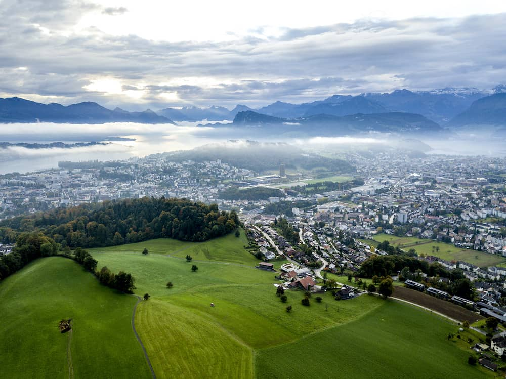 the bird's eye view of the Lucerne city in Switzerland.