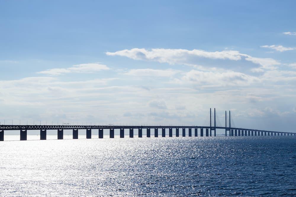 View of Oresund bridge connects Malmo and Copenhagen over the Baltic sea