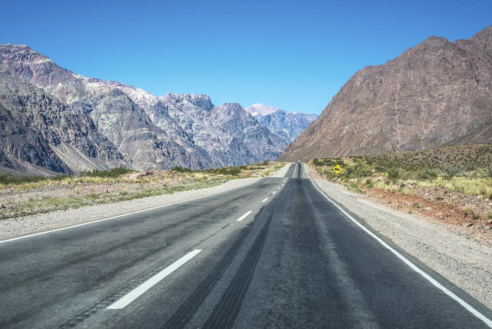 National Road 7 passing by the Department of Las Heras in Mendoza Argentina