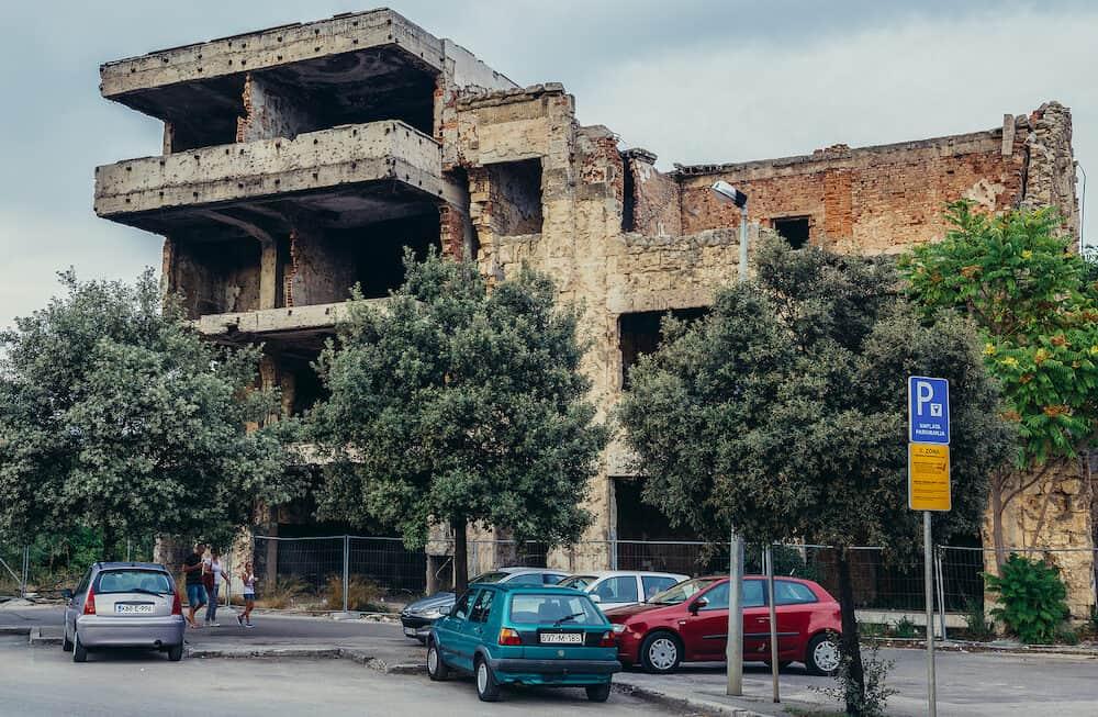 Mostar Bosnia and Herzegovina - Building destroyed during Bosnian War in Mostar