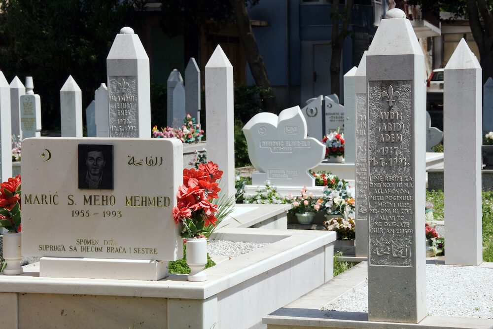 MOSTAR, BOSNIA AND HERZEGOVINA, Cemetery with the graves of the war in 1993. Around 2,000 people died in Mostar during the war
