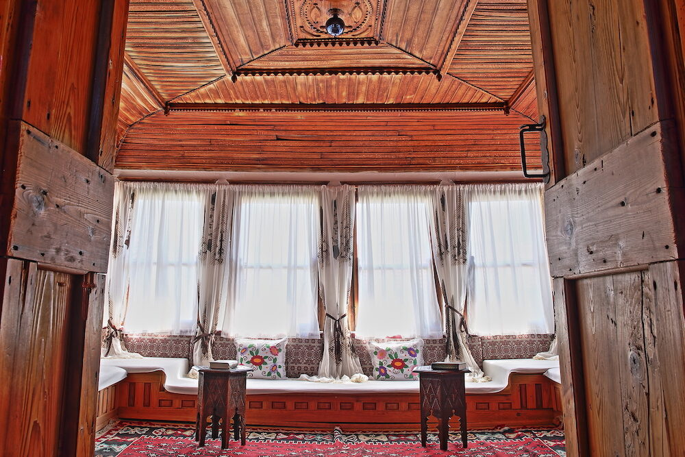 MOSTAR, BOSNIA AND HERZEGOVINA - : The interior of Muslibegovic House (Kajtaz), a well preserved wooden Ottoman house converted in a Museum