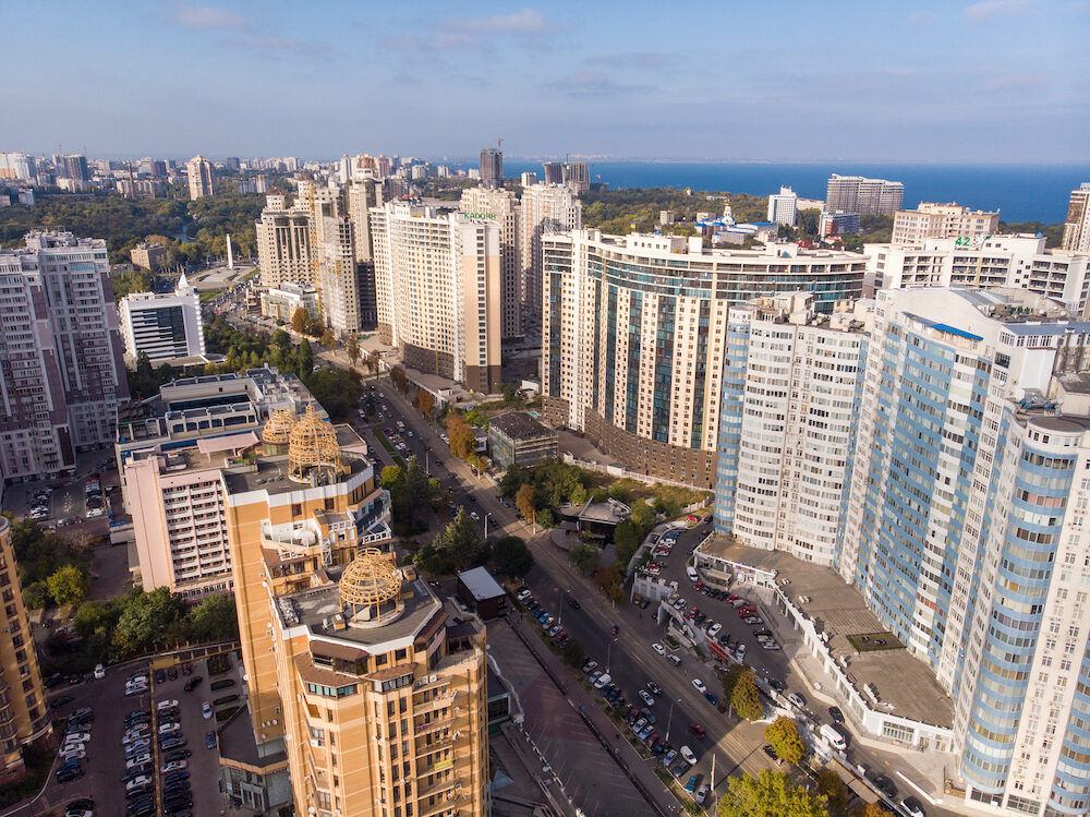 Aerial view of Odessa city and Arcadia modern buildings at sunny summer day drone
