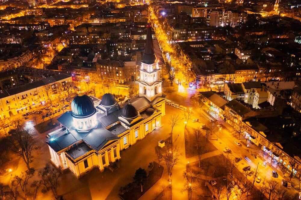 ODESSA - Aerial view of Varna at night. Night city Odessa, Ukraine aerial view.
