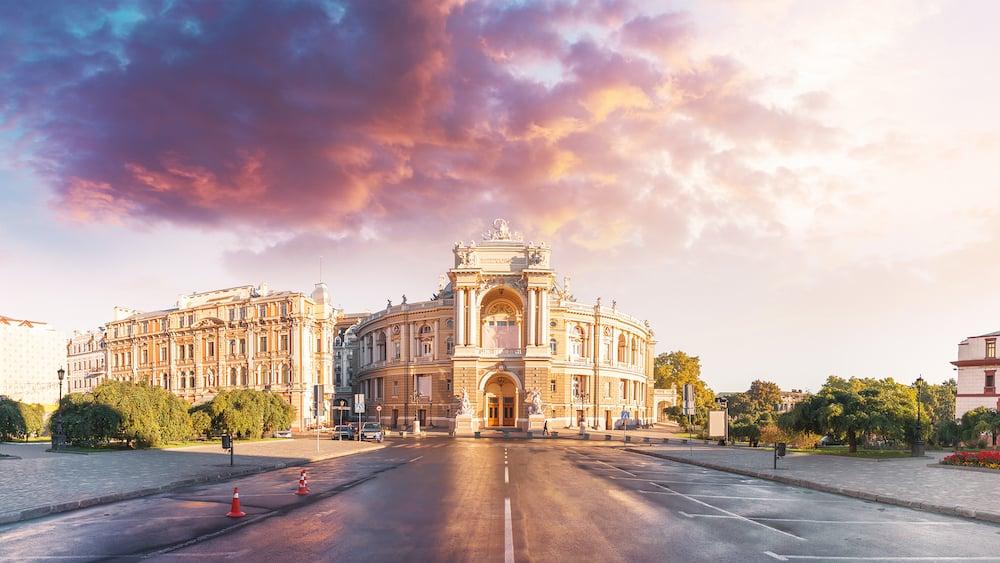 Beautiful panorama of Odessa, Ukraine. Odessa State Academic Opera and Ballet Theater. Odessa Opera and Ballet Theater at sunset with a beautiful colorful sunset sky. Cultural Center on the Black Sea