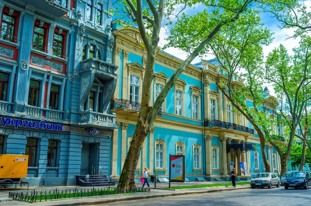 ODESSA UKRAINE - Beautiful two flored blue mansion nowadays used as the museum of Wentern and Eastern Arts in Odessa.