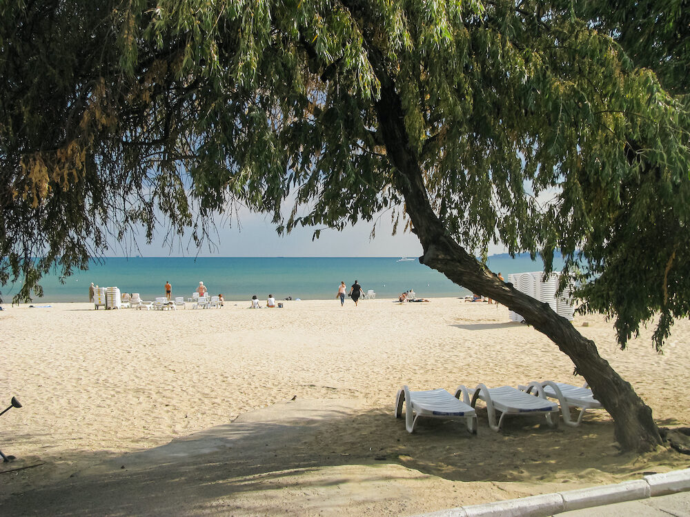 Odessa beach Luzanovka, an interesting view through an arch of trees. Sea, sand, vacationers