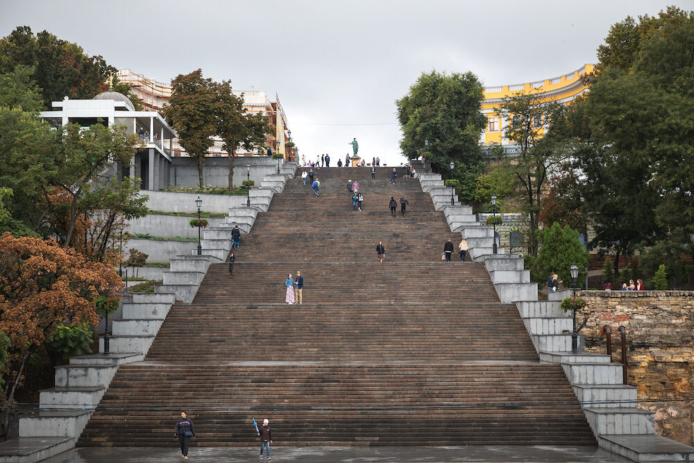 Odessa, Ukraine - Potemkin Stairs is a giant stairway in Odessa. Stairs are considered a formal entrance into the city from the direction of sea and are the best known symbol of Odessa