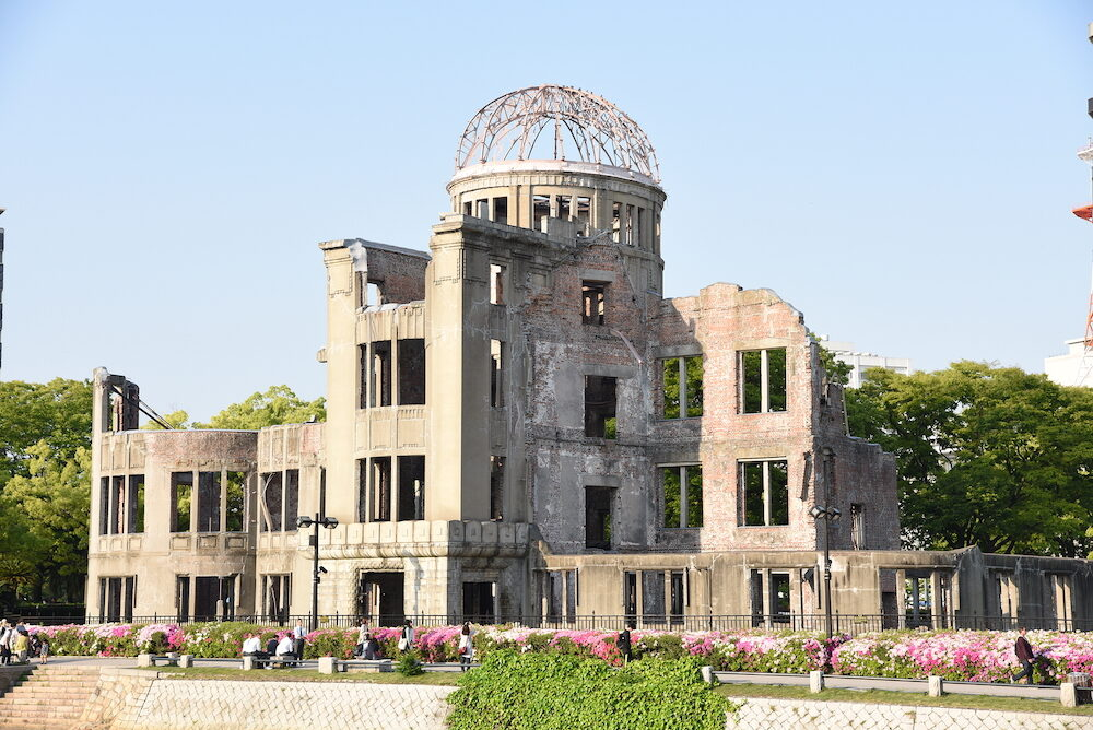 HIROSHIMA, JAPAN - Atomic Bomb Dome or A-bomb dome (Genbaku Dome-mae) , A part of the Hiroshima Peace Memorial Park in Hiroshima, Japan.