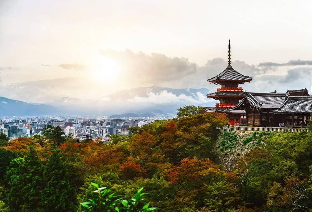 Kiyomizu-dera buddhism temple and Kyoto city skyline in Japan, East Asia. Kiyomizu-dera is the famous landmark attracting tourist who visit Kyoto, Japan.