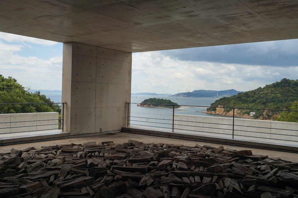 Naoshima, Japan-The area around the Benesse Art Museum on Naoshima island, incorporating a museum and a hotel, Park, and Beach, plus a restaurant, cafe, and shop open to the public.