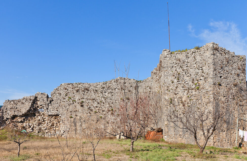 PODGORICA MONTENEGRO - Ruins of Depedogen Fortress (Nemanjin Grad) in Podgorica Montenegro. Erected in 1477 by Ottoman Empire above the confluence of Ribnica and Moraca rivers