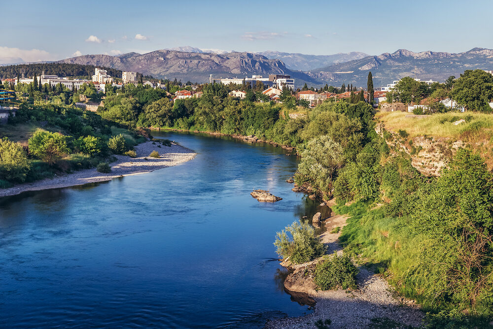 Podgorica, Montenegro - View on the river Moraca River in Podgorica city