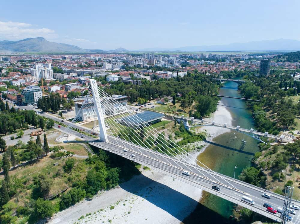 aerial view of Millennium bridge over Moraca river in Podgorica, Montenegro
