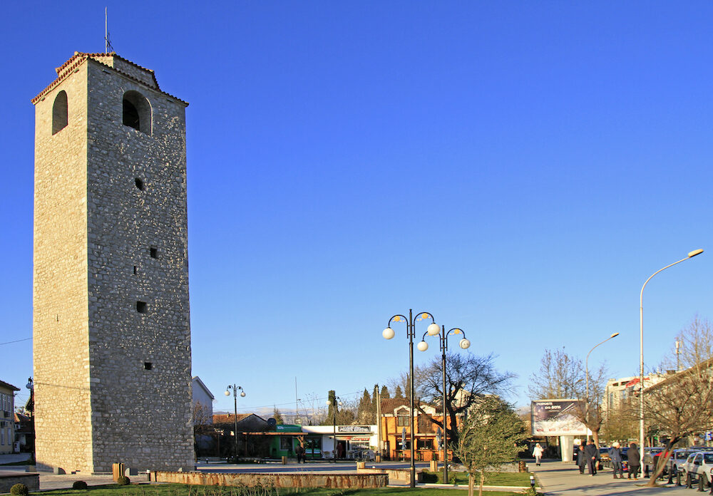 Podgorica, Montenegro - : people are walking at ottoman clock tower in Podgorica