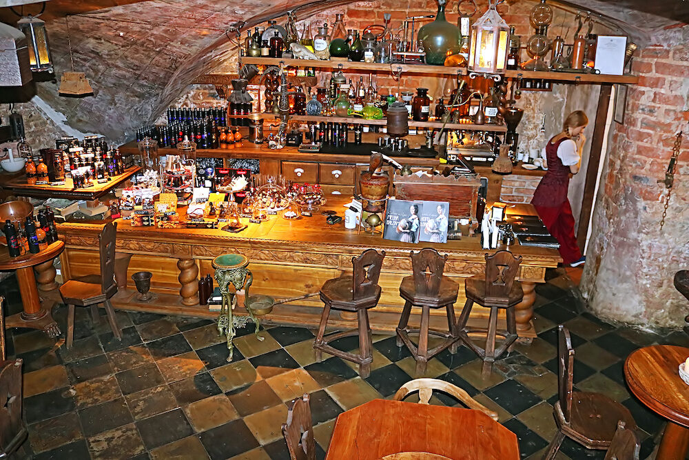 RiIGA, LATVIA - Black magic bar interior in the historical center of Old town