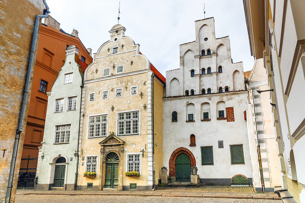 Famous landscape view of architecture The three brothers in Latvia Riga old town. Riga city historical centre is a UNESCO World Heritage Site