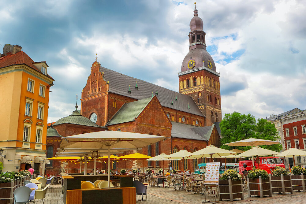 Riga, Latvia. The Dom Square in the Latvian capital Riga . The view of the Riga Dom Cathedral.