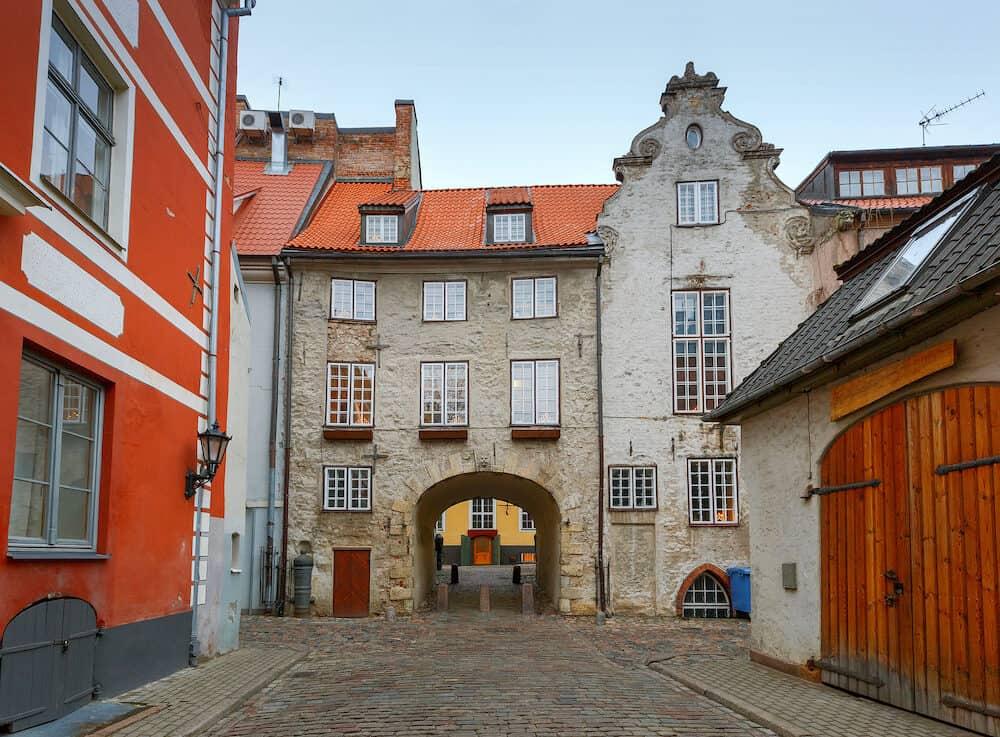 The famous stone Swedish Gate. Riga. Latvia