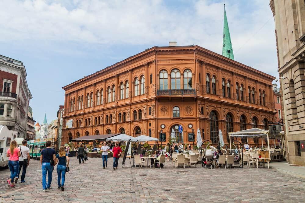 RIGA, LATVIA - View of Art Museum Riga Bourse in the center of Riga, Latvia