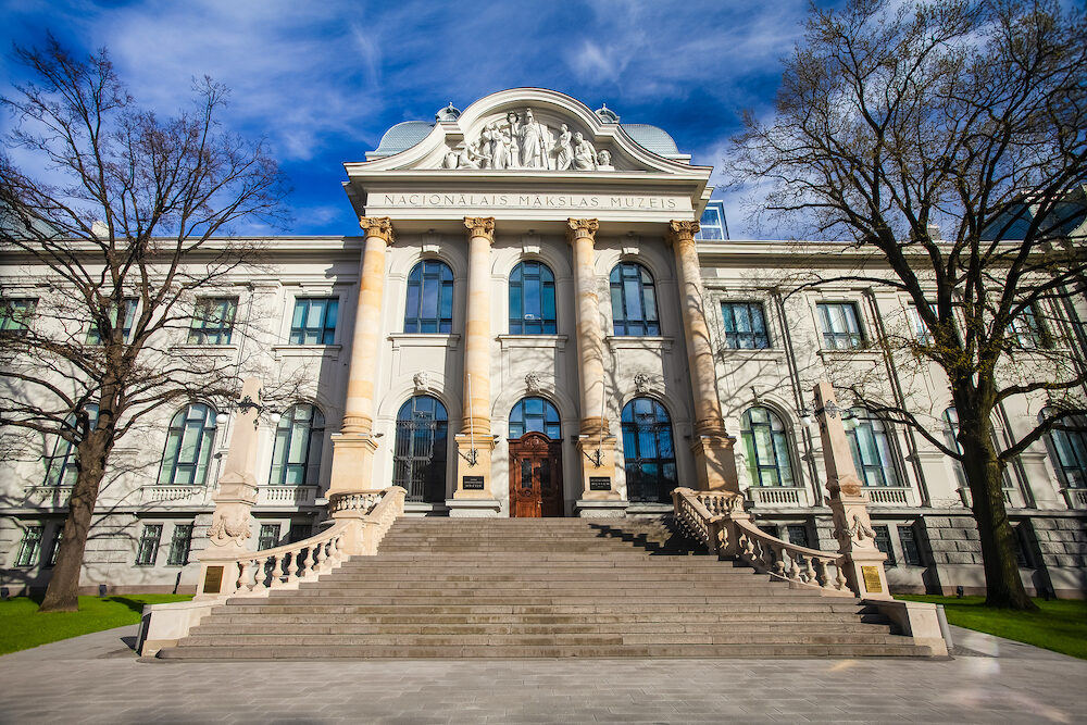 RIGA, LATVIA - View on Latvian National Museum of Art that is located in the city center of Riga