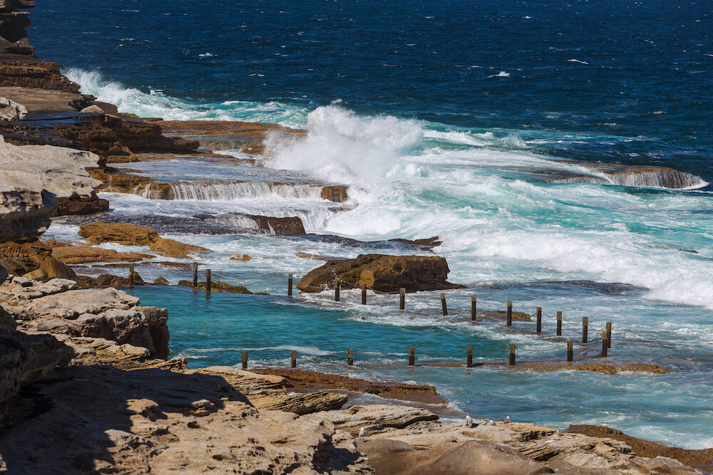 Maroubra rock pool also called Mahon rock pool close to Maroubra beach from a high view point