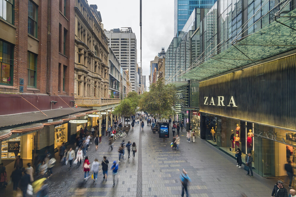 Sydney, Australia - People visiting the Pitt Street Mall in Sydney, Australia. It is one of busiest shopping precincts in Australia.