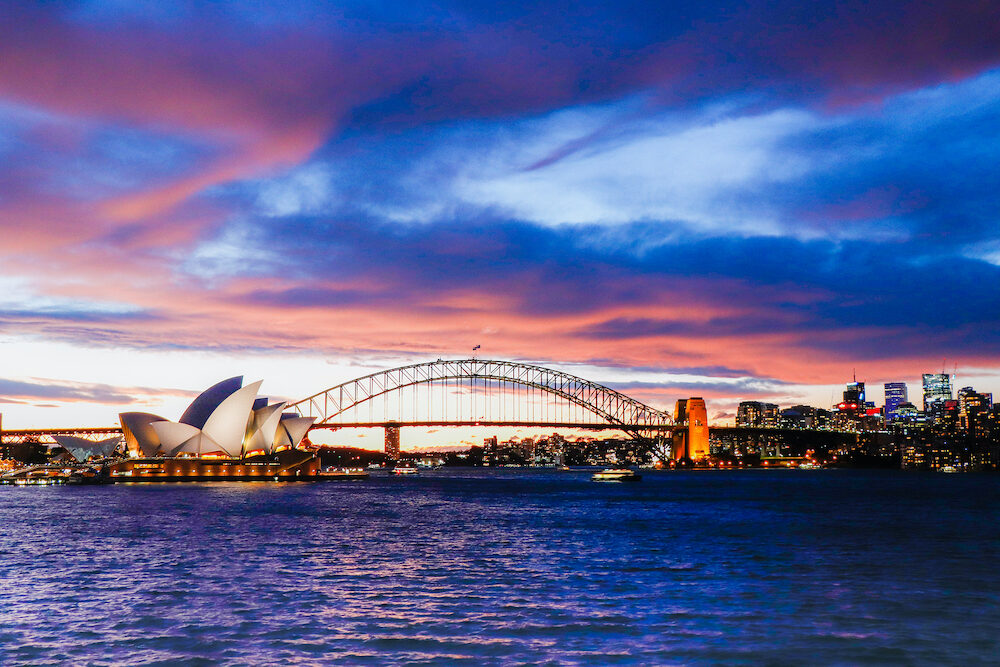 Australia, Sydney. Spectacular View of Sydney Opera House During Sun Set