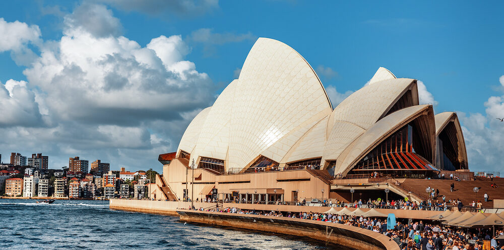 SYDNEY, AUSTRALIA - Sydney Opera House view. Sydney Opera House is a multi-venue performing arts centre. It was designed by Danish architect Jorn Utzon