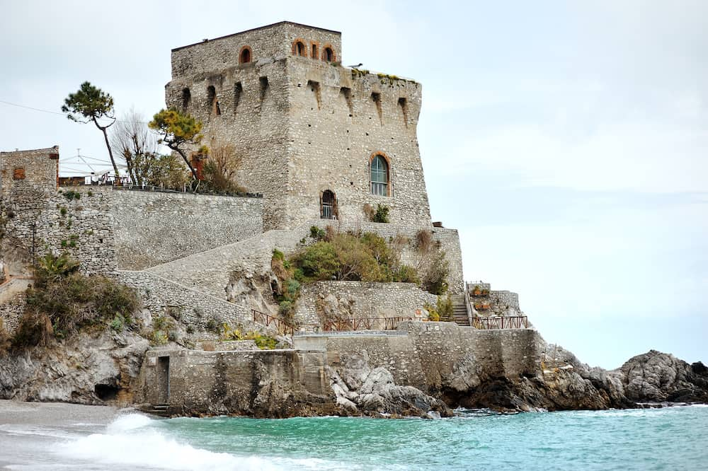 Amalfi coast Erchie Maiori Italy - Cerniola tower near sea scenic view
