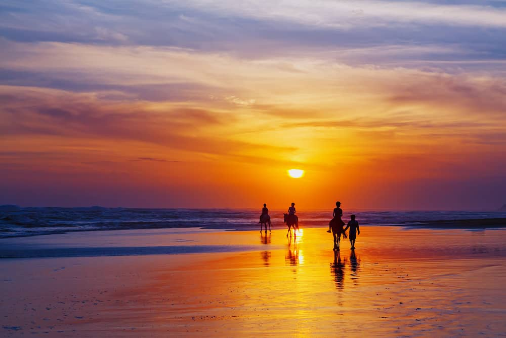 Black silhouette of happy family having horse riding adventure on sand sea beach on background of sunset sky.