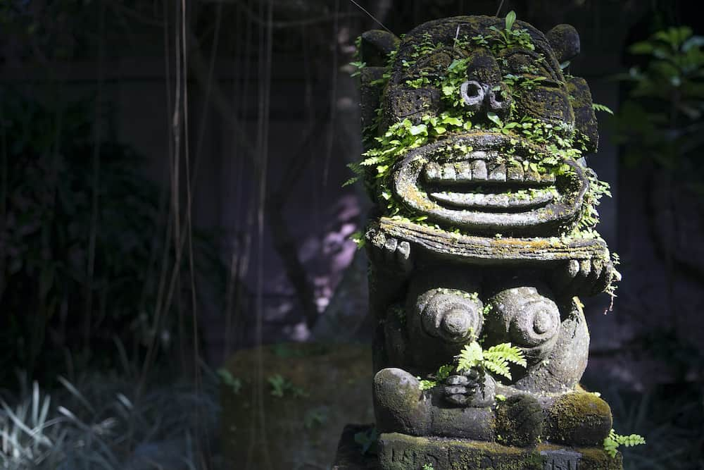 Monkey spirit sculpture with moss in Arma Museum on the right, Ubud, Bali, Indonesia