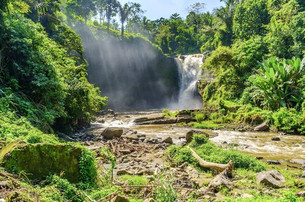 Tegenungan Waterfall near Ubud, Bali, Indonesia. Tegenungan Waterfall is a popular destination for tourists visiting Bali, Indonesia.