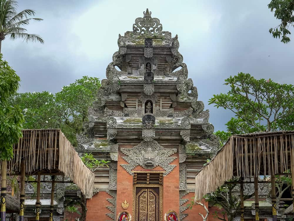 UBUD, INDONESIA - wide shot of the gate to the royal palace, puri saren agung, at ubud in bali