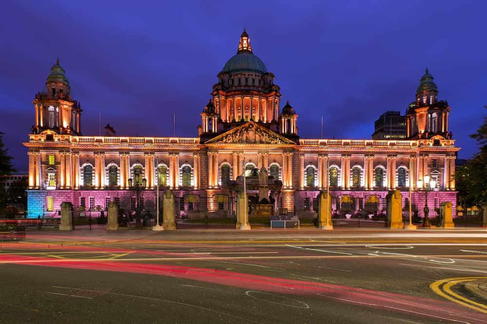 Illuminated Belfast City Hall at night, Belfast, Northern Ireland, United Kingdom
