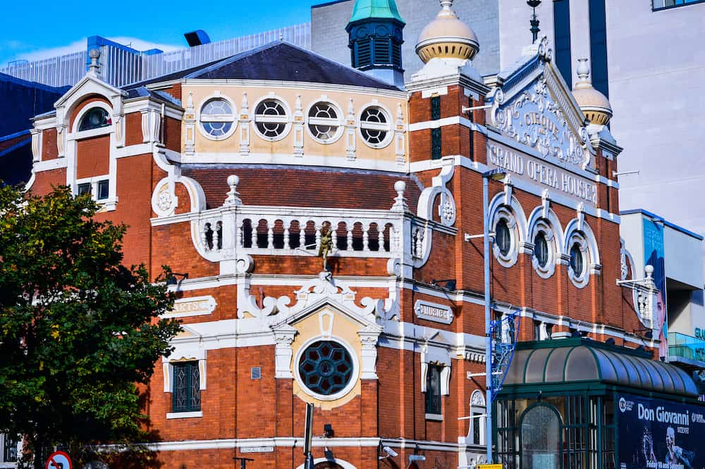 The Grand Opera House in Belfast, Northern Ireland. It is a famous theatre designed by the most prolific theatre architect of the period, Frank Matcham.