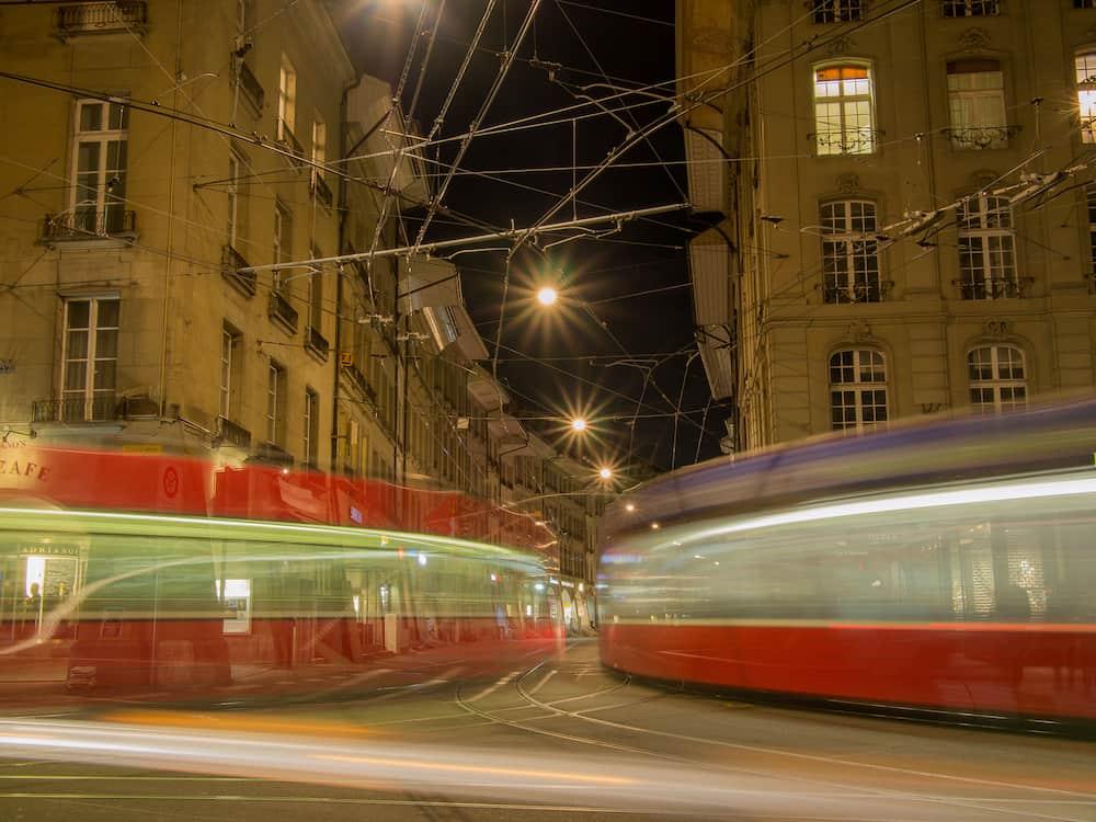 SWITZERLAND BERN - Long exposure of trams in Bern Switzerland.