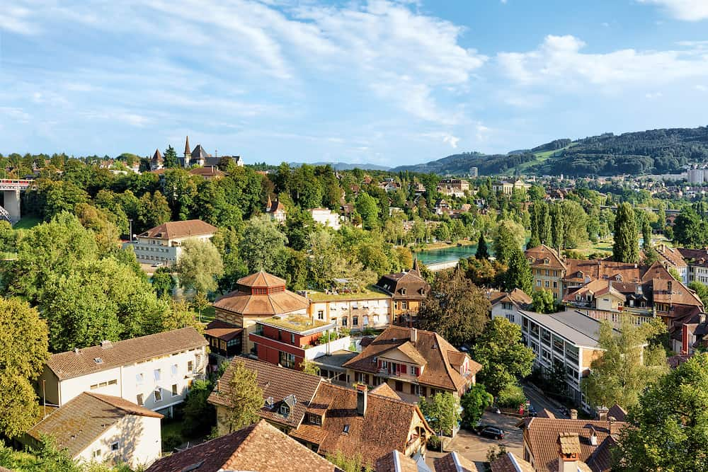 Bern, Switzerland - Panorama with Historical Museum and Aare River in Bern, Switzerland. Seen from Bundesterrasse
