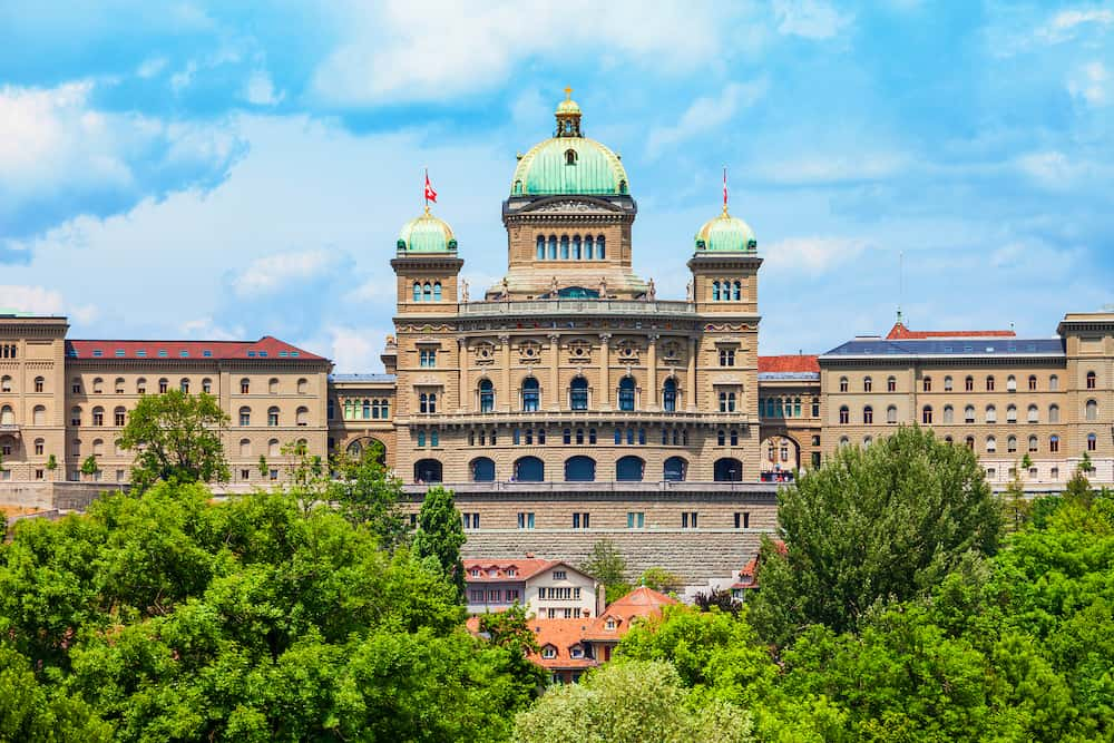 The Federal Palace or Bundeshaus is the building housing the Swiss Federal Assembly and Council in Bern city in Switzerland