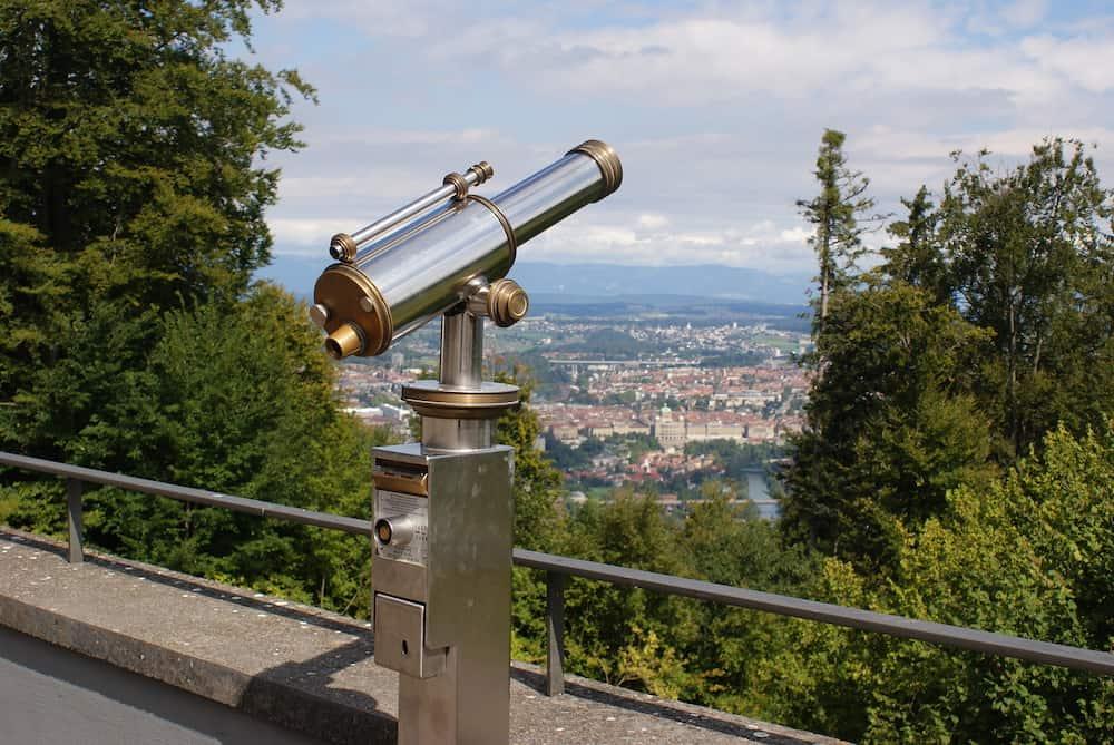 View over Bern and telescope from Gurten, Switzerland